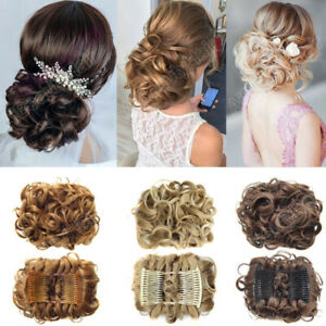 LARGE-Comb-Clip-In-Curly-Hair-Piece-Chignon-Updo-Wedding-Hairpiece-Extension-Bun