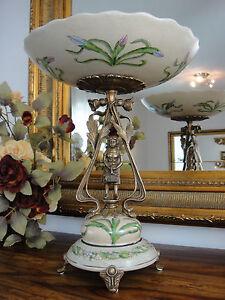 Luxus Prunkschale Jugendstil Schale Porzellan Bronze Zierschale Edel Antik Stil