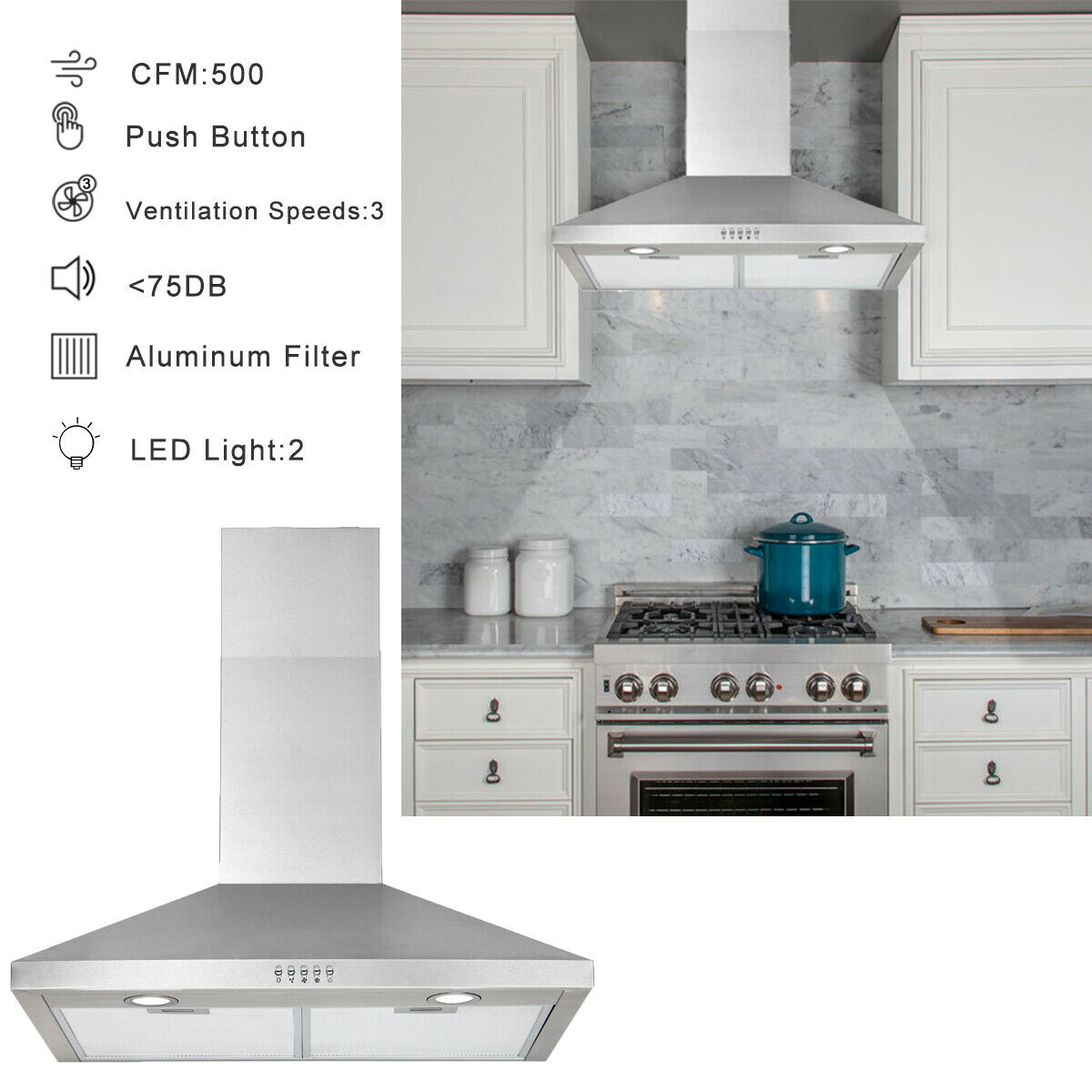30 wall mount range hood stainless steel kitchen exhaust vent stove fan filter shopping com
