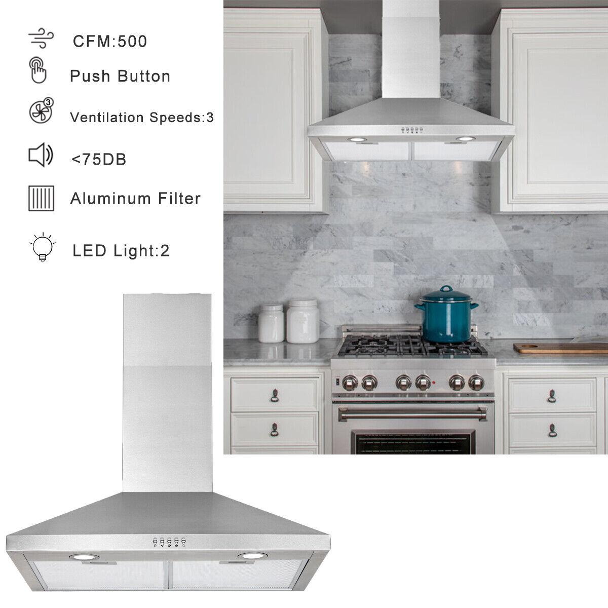 Swanson 30 Stainless Steel Wall Mount Range Hood Kitchen Vent Cooking Fan For Sale Online Ebay