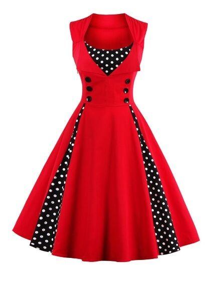 Button Embellished Polka Dot Retro Dress Size M