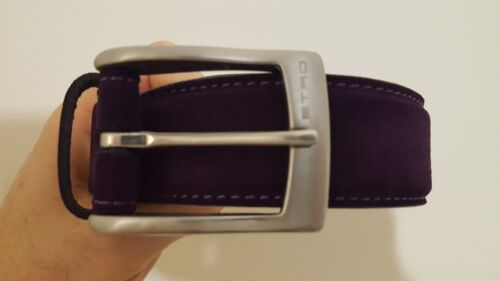 Etro Mens Purple Suede Unique Belt Made In Italy Size 34 Inch Brand New In Box