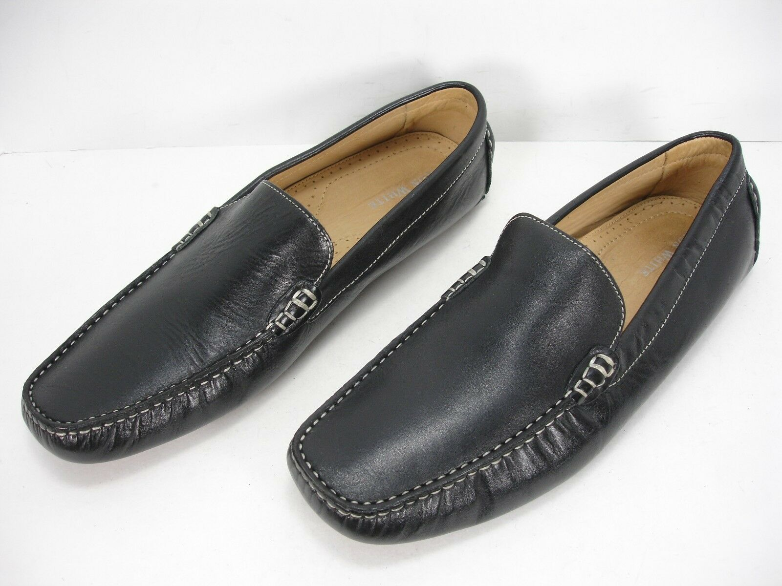 RON WHITE BLACK LEATHER SLIP ON LOAFERS DRIVING SHOES MEN'S 11.5 M