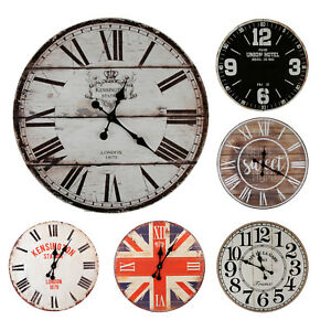 XXL-Wanduhr-Uhr-Kuechenuhr-Zeitmesser-Buerouhr-schwarz-weiss-braun-Shabby-Vintage