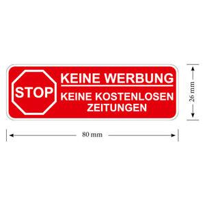 1 X Stop Bitte Keine Werbung Briefkasten Aufkleber