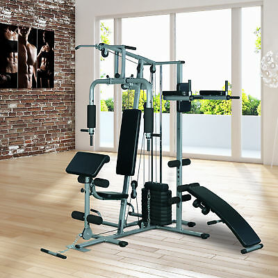 Soozier Deluxe Home Gym Fitness Exercise Machine Weight Stack Black