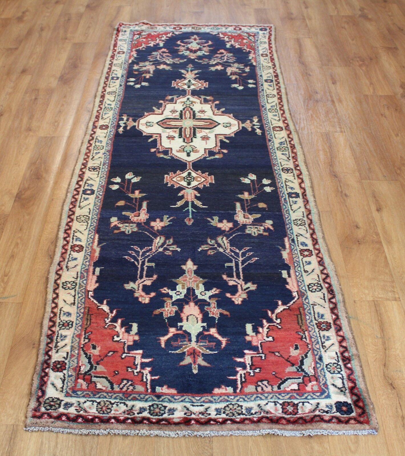 Clásico Hecho a Mano Vintage de Lana Tradicional Alfombra Oriental Alfombra 270x88cm