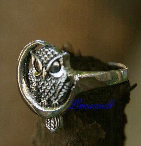 925 Silber Ring ~ Eulen-Ring ~ h:2 cm Eule in  Mondsichel