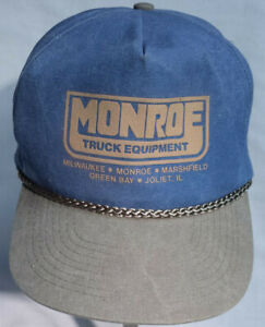 Monroe Truck Equipment >> Details About Monroe Truck Equipment Denim Khaki Trucker Hat Snapback Braid Detail