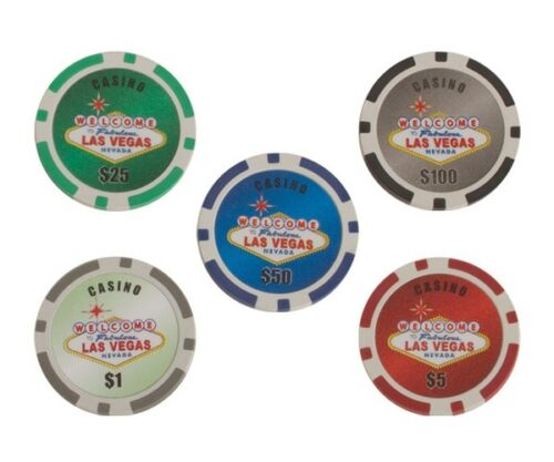 300 PC 11.5g Chips Las Vegas Poker Set 2 Deck Of Cards 5 Dice Dealer Button New