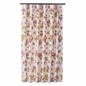 Image Is Loading Falling Leaves Autumn Fabric Shower Curtain Off White