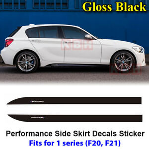 Fits-BMW-F20-F21-1-Series-M-Performance-Side-Skirt-Decal-Stickers-GLOSS-BLACK