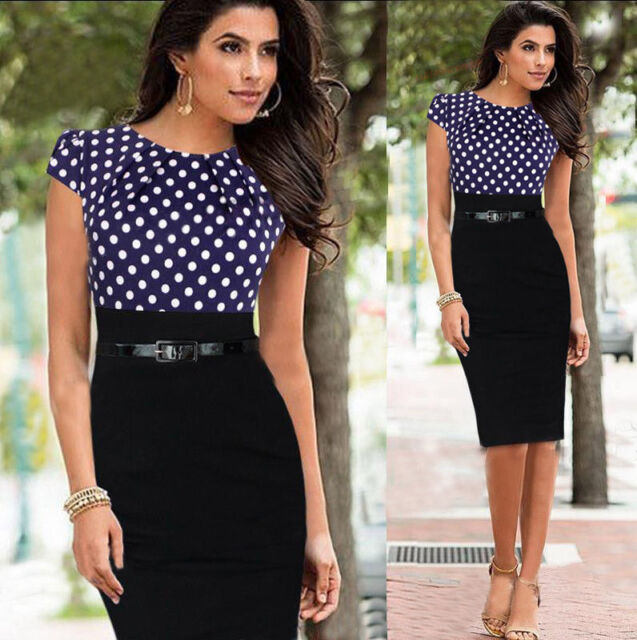 Womens Elegant Peplum Wear To Work Business Casual Party Sheath Pencil Dress Dot