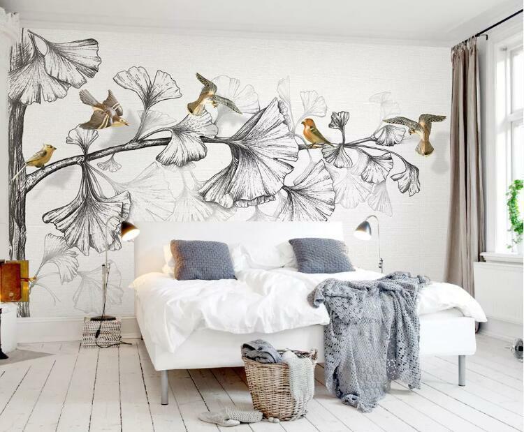 3D Skizze Blätter H1057 Tapete Wandbild Selbstklebend Abnehmbare Aufkleber Wend