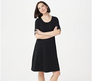 New-ISAAC-MIZRAHI-LIVE-Size-XS-Black-Elbow-Sleeve-Scoop-Neck-Knee-Dress