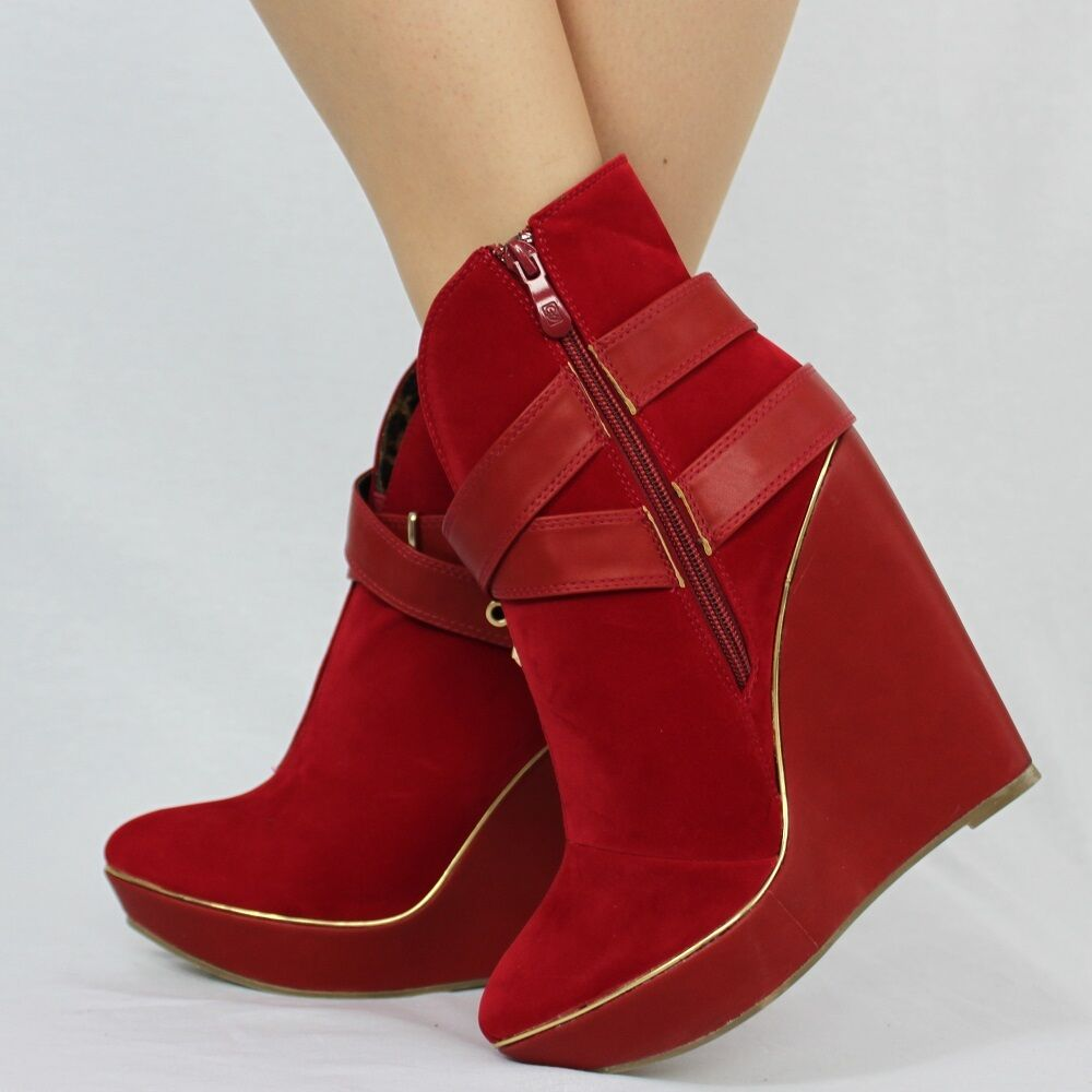 Women's Comfort Double Buckle Strap Wedge Platform Ankle Boots Size 3 - 8  (931)