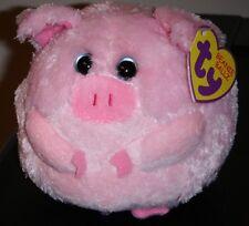 Ty Beanie Baby Ballz ~ BEANS the Pig (Regular ~ 5 inch) ~ MWMT'S ~ NEW ~ RETIRED