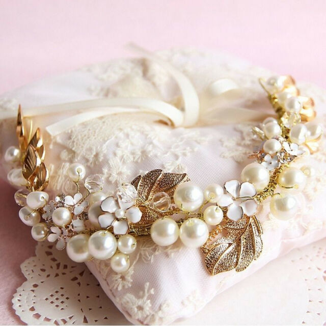 Floral Gold Leaves Crystal Pearl Wedding Hair Tiara Bridal Headpiece