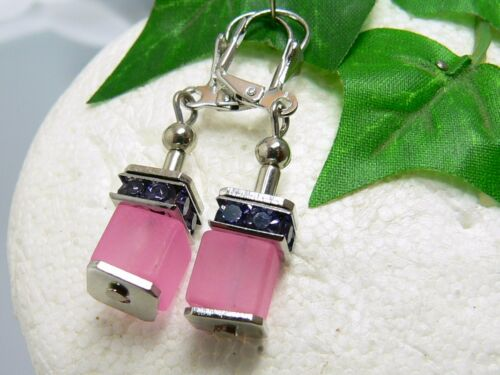 3er schmuckset perlas de vidrio cubo rosa Violeta cubo cadena pulsera aretes 092d