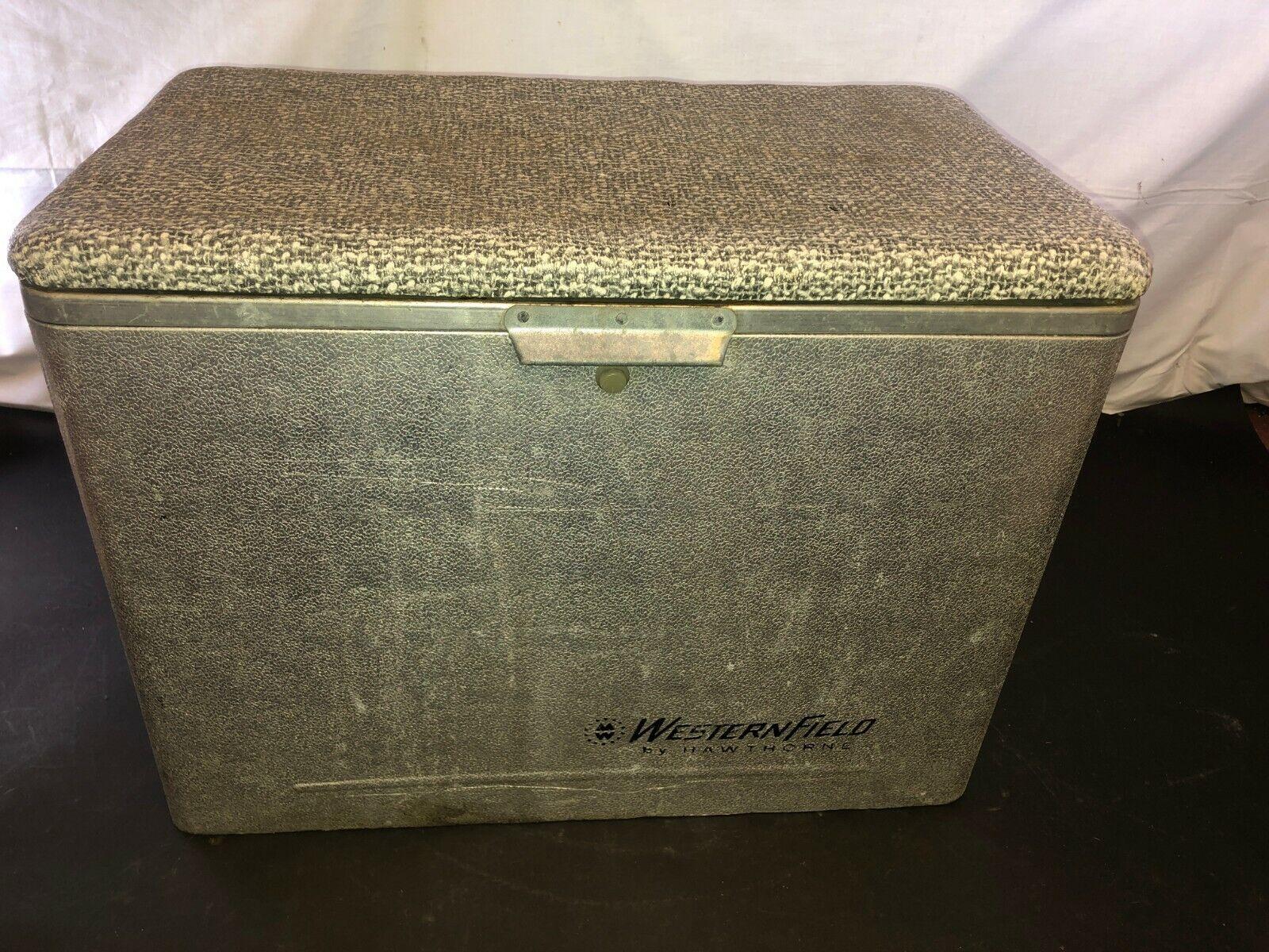 Vintage Hawthorne cronstroms occidental Campo Metal Cooler pecho de hielo