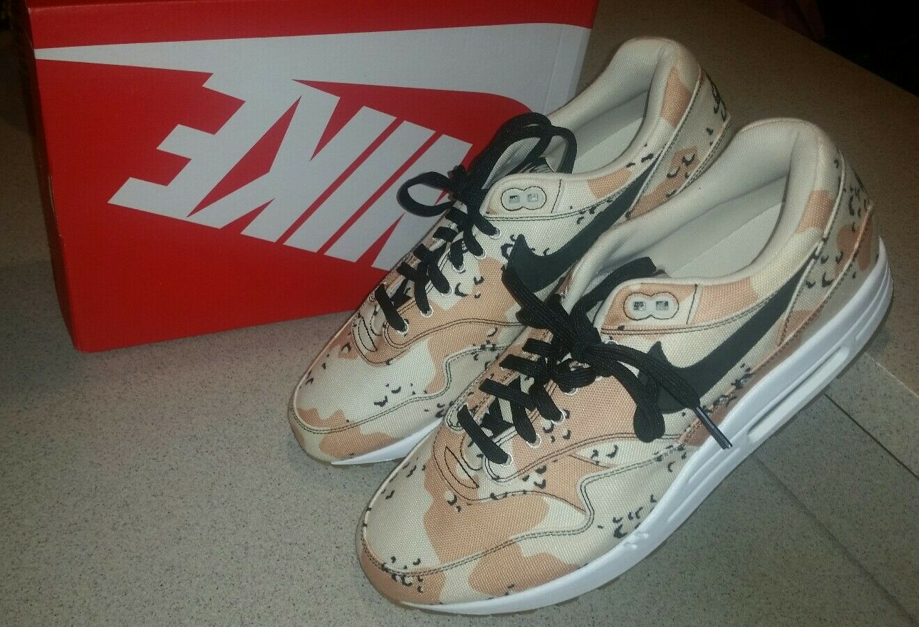 Nike Air Max 1 PRM Camo Canvas Sneaker Desert Beach Athletic Running Trainers 13