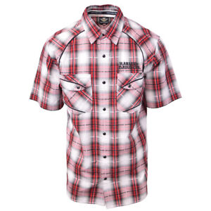 Harley-Davidson-Men-039-s-Red-White-Plaid-S-S-Woven-S14