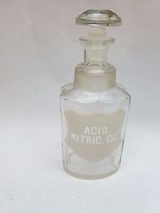ANTIQUE-APOTHECARY-GLASS-BOTTLE-MEDICAL-JAR-MEDICINE-19-c-ACID-NITRIC-CC