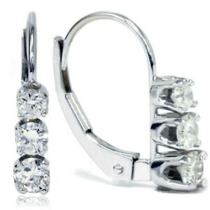 1-00Ct-Round-Cut-Real-Moissanite-Drop-Dangle-Earrings-14k-White-Gold-Finish
