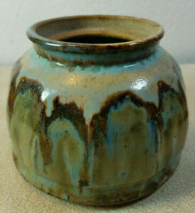 """Vintage Hand Painted Studio Art Pottery Planter Green Brown Green 3 1/2"""" Tall"""