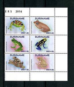 Suriname-2016-neuf-sans-charniere-grenouilles-bloc-6v-kikkers-amphibiens-timbres