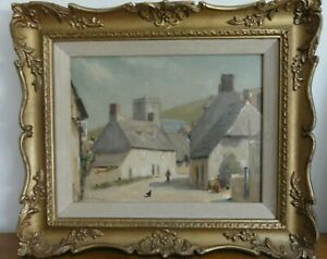 Corfe-Castle-Dorset-Old-Original-Oil-painting-by-Philip-Gregory-Needell-signed