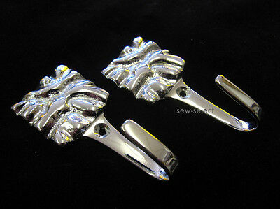 2 Chrome Nappa Ganci-sandune Design Cortina D'argento Laccio Sul Retro Del Muro Ricollegamento Gancio- Profitto Piccolo