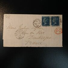 GRANDE BRETAGNE GB N°27 x2 2d BLUE LETTRE COVER 1967 LONDON TO DUNKERQUE FRANCE