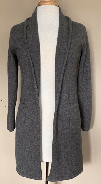 Tahari Pure Luxe 100% Cashmere Open Front Long Cardigan Sweater Heather Gray M