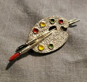 Vintage-Gerry-039-s-Silvertone-Artist-Paint-Pallette-brushes-Brooch-Pin