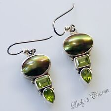 Designer Sterling Silver Mabe Pearl Peridot Earrings