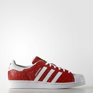 Image is loading ADIDAS-SUPERSTAR-ANIMAL-OSTRICH-LUX-LUXE-S75158-RED-