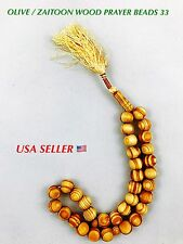 Muslim Prayer Beads 33 Beads Haji Tasbih Beads Zaitun Zaitoon Olive Wood  USA