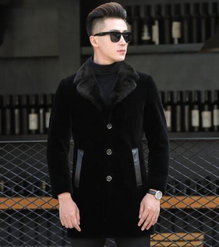 Mens de Stand de Trench de piel Collar Nuevo exteriores lana vestir Furry Coat chaqueta lujo Espesar prendas de rzrqdIw