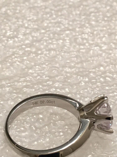 1CT ROUND CUT DIAMOND SOLITAIRE ENGAGEMENT RING 14K WHITE GOLD Finish Size 7