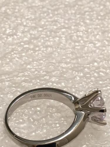 1 Ct Rond Coupe Diamant Solitaire bague de fiançailles 14K or Blanc Finition Taille 7