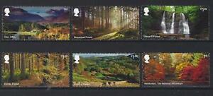 Grossbritannien-2019-Forests-Set-Mit-6-Singles-Nicht-Gefasst-Postfrisch-MNH