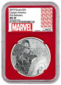 2019-Tuvalu-Captain-America-1-oz-Silver-Marvel-NGC-MS70-FR-Red-Core-SKU56989
