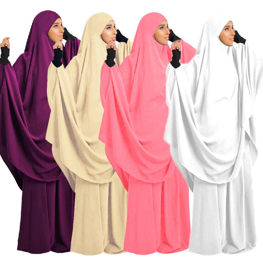 2 Piece Prayer Set Long Khimar Overhead Islamic Hooded Abaya Dress Jilbab Robes