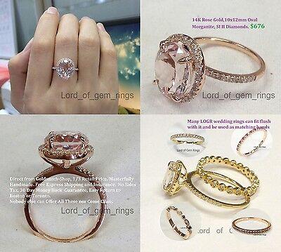 14K Rose Gold 4.9ctw Pink Morganite Engagement Wedding Diamond Ring 10x12mm Oval