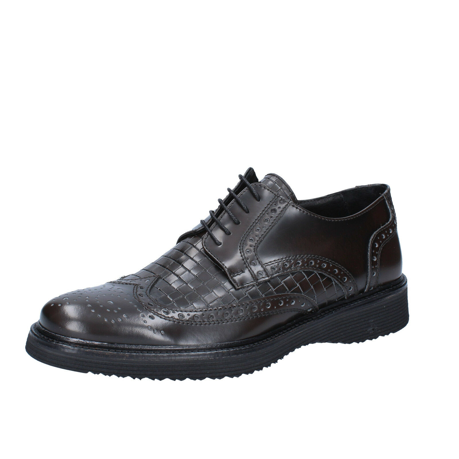 Men's zapatos SALVO BARONE 11 (EU 44 ) elegant marrón shiny leather BZ148-F