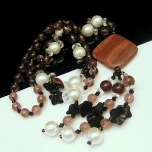 Long-Chunky-Necklace-Large-Pendant-Tassels-Glass-Beads-Stones-Black-Pink-Brown