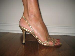 Manolo-Blahnik-Metallic-Gold-Leather-High-Heel-Strappy-Sandals-39-5