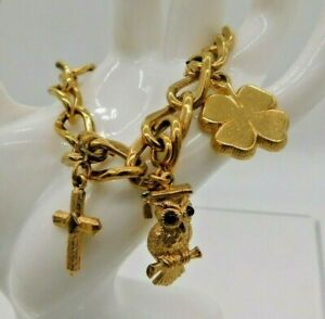 Monet-Gold-Tone-Graduation-Owl-Four-Leaf-Clover-Cross-SS-Florida-Charm-Bracelet