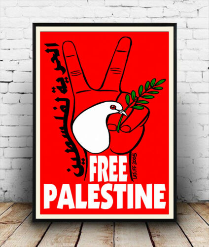 Free Palestine political advertising poster reproduction.